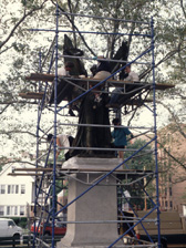 Seminar participants work from scaffold in Queens